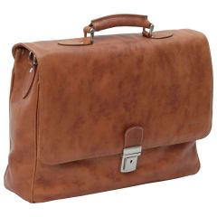 Leather Laptop Briefacase - Brown Colonial