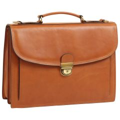 Briefcase with leather shoulder strap - Brown Colonial