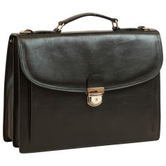 Briefcase with leather shoulder strap - Black