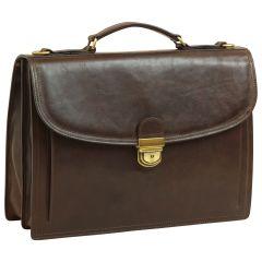 Briefcase with leather shoulder strap - Dark Brown