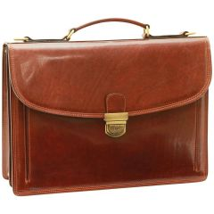 Briefcase with leather shoulder strap - Brown