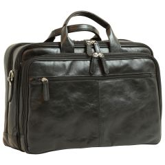 Italian Leather Briefcase - Black