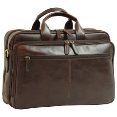 Italian Leather Briefcase - Dark Brown