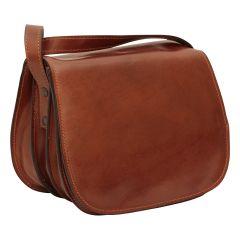 Full grain calfskin shoulder bag - brown