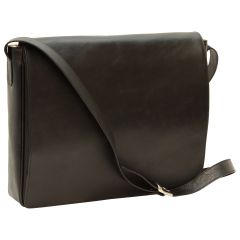 Cowhide leather messenger bag - black