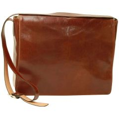 Cowhide Leather Messenger Bag - Brown