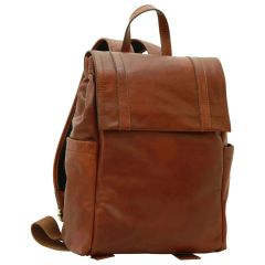 Leather laptop backpack – Brown