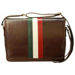 Borsa Messenger in vacchetta. Marrone scuro