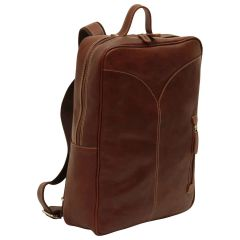 Oiled Calfskin Leather Laptop backpack - Chestnut