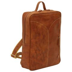 Oiled Calfskin Leather Laptop backpack - Brown Colonial