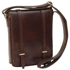 Medium leather bag with double magnetic closure - Dark Brown
