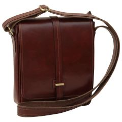 Small leather bag with magnetic closure - Brown