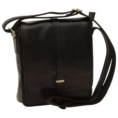 Small leather bag with magnetic closure - Black