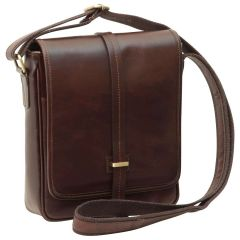 Small leather bag with magnetic closure - Dark Brown
