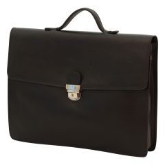 Business leather briefcase black
