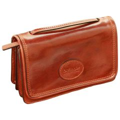 Small leather cross body bag - Brown
