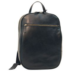 Leather backpack with exterior zip pockets - Black
