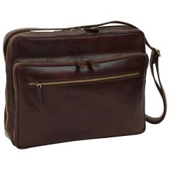 Messenger in pelle con chiusura a zip (Grande). Marrone Scuro