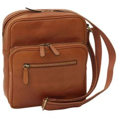 Small leather bag with zip closures - Brown Colonial