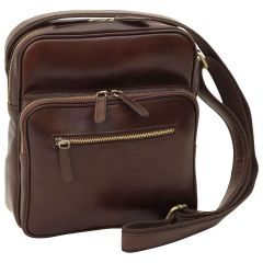 Messenger in pelle con chiusura a zip (Piccola). Marrone Scuro