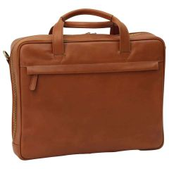 Leather Briefcase with zip closure - Brown Colonial