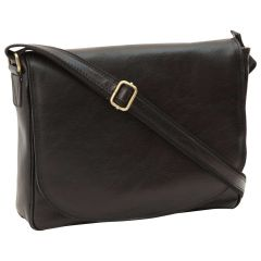 Leather laptop messenger - Black