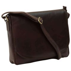 Messenger per laptop in pelle. Marrone Scuro