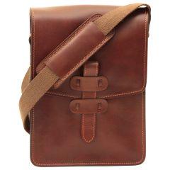 Cowhide leather messenger bag - Brown