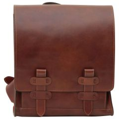 Cowhide leather backpack with double buckle closure - Brown