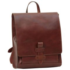 Leather backpack with buckle closure - Brown