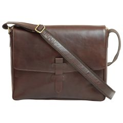 Cowhide Leather Messenger - Dark brown