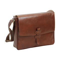 Cowhide Leather Messenger - Brown