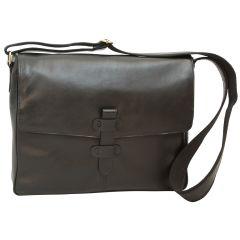 Cowhide Leather Messenger - Black