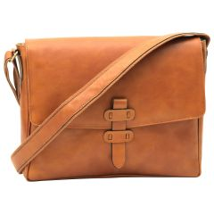 Cowhide Leather Messenger - Brown Colonial
