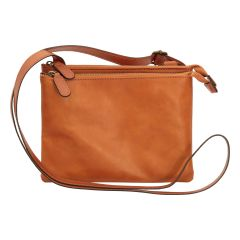 Full grain calfskin shoulder bag - brown colonial