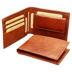 Cowhide leather wallet - Brown