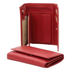 Leather wallet for women - red