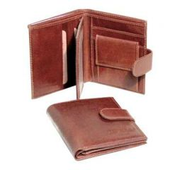 Three Part Cowhide Leather wallet - Brown