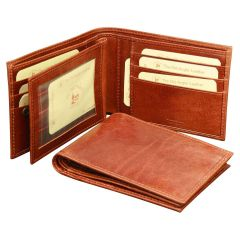 Cowhide leather three part wallet - Brown