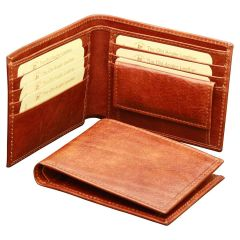 Cowhide leather wallet with coin pocket - Brown