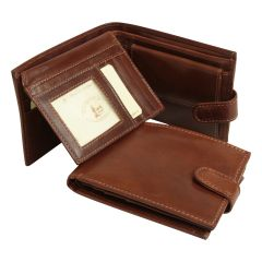 Leather Bifold Wallet with internal zip pocket - Brown