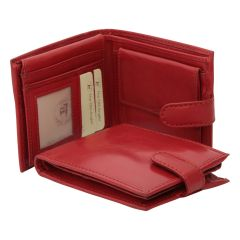 Leather bifold wallet with internal zip pocket - red