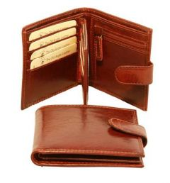 Three Part Leather Wallet with coin pocket with zipper - Brown