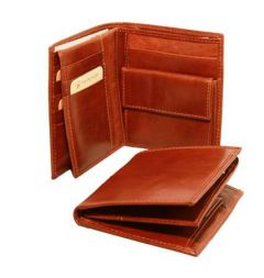 Three-Part Leather Bi-Fold Leather Wallet - Brown