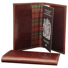 Leather Passport Holder - Brown