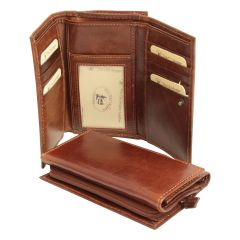 Leather Trifold Wallet with coin pocket with zipper - Brown