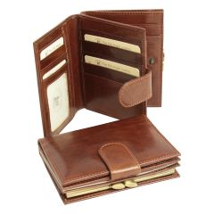 Three part leather wallet with coin pocket - Brown