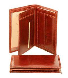 Portafoglio con 3 scomparti - Marrone