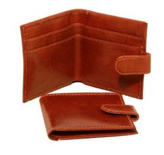 Men's Bifold Leather Wallet with snap closure - Brown