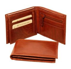 Men's Bifold Leather Wallet - Brown